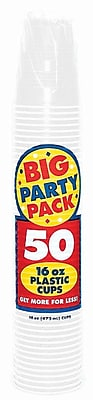 Amscan Big Party Pack 16oz White Cup, 5/Pack, 50 Per Pack (436801.08) 1970961