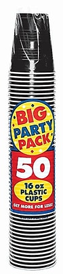 Amscan Big Party Pack 16oz Black Cup, 5/Pack, 50 Per Pack (436801.1) 1970959