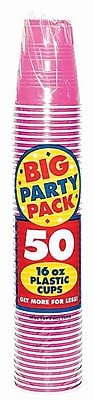Amscan 16oz Bright Pink Big Party Pack Cup, 5/Pack, 50 Per Pack (436801.103)