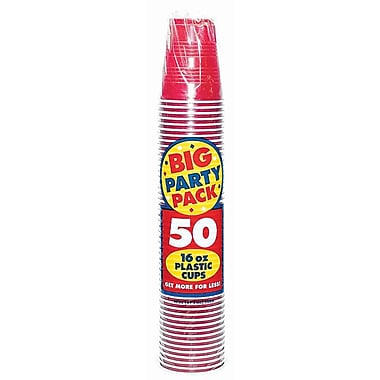 Amscan Big Party Pack 16oz Apple Red Cup, 5/Pack, 50 Per Pack (436801.4)