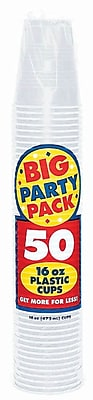 Amscan Big Party Pack 16oz Clear Cups, 4/Pack, 50 Per Pack (436801.86) 1970983