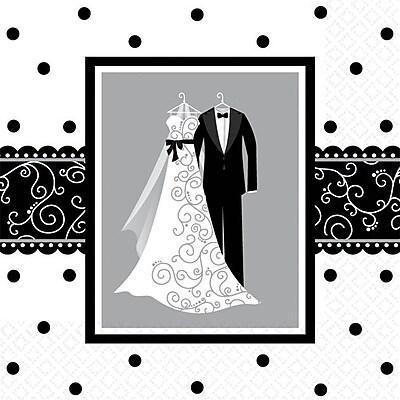 Amscan Wedding Invites, 5'' x 5'', Black/White, 8/Pack, 16 Per Pack (501091)
