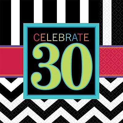 Image of Amscan 30th Celebration Beverage Napkins, 5'' x 5'', Striped, 8/Pack, 16 Per Pack (501365)