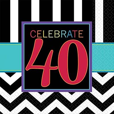 Image of Amscan 40th Celebration Beverage Napkins, 5'' x 5'', Striped, 8/Pack, 16 Per Pack (501366)