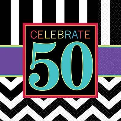 Image of Amscan 50th Celebration Beverage Napkins, 5'' x 5'', Striped, 8/Pack, 16 Per Pack (501367)