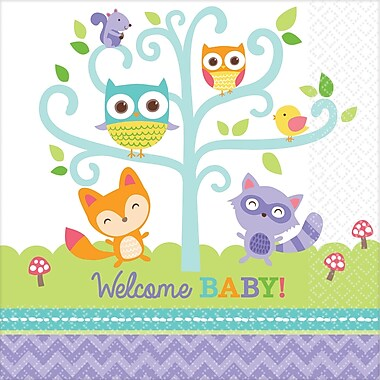 Amscan Woodland Welcome Baby Shower Beverage Napkin, 5'' x 5'', Multicolored, 8/Pack, 16 Per Pack (501452)