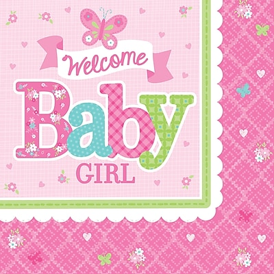Amscan Welcome Little One Baby Shower Girl Beverage Napkin, 5'' x 5'', Multicolored, 8/Pack, 16 Per Pack (501458) 1970626