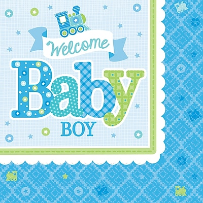 Amscan Welcome Little One Baby Shower Boy Beverage Napkin, 5'' x 5'', Multicolored, 8/Pack, 16 Per Pack (501461) 1970625