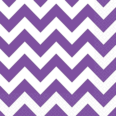 Amscan Chevron Beverage Napkins, 5'' x 5'', Purple, 8/Pack, 16 Per Pack (501492.106)