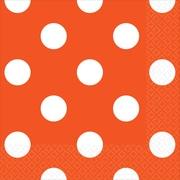 Amscan Polka Dots Beverage Napkins, 5'' x 5'', Orange Peel, 8/Pack, 16 Per Pack (501537.05)