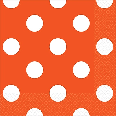 Amscan Polka Dots Beverage Napkins, 5'' x 5'', Orange Peel, 8/Pack, 16 Per Pack (501537.05)