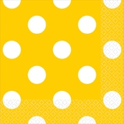 "Amscan Polka Dots Beverage Napkins, 5"" x 5"", Yellow Sunshine, 8/Pack, 16 Per Pack (501537.09)"