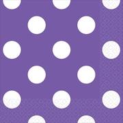 Amscan Polka Dots Beverage Napkins, 5'' x 5'', Purple, 8/Pack, 16 Per Pack (501537.106)