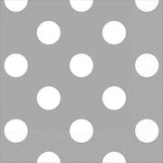 Amscan Polka Dots Beverage Napkins, 5'' x 5'', Silver, 8/Pack, 16 Per Pack (501537.18)