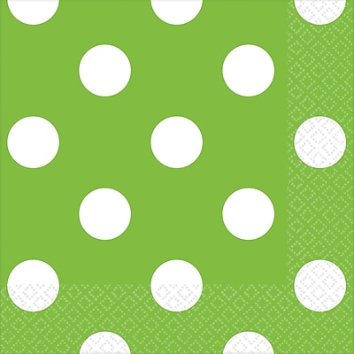 Amscan Polka Dots Beverage Napkins, 5'' x 5'', Kiwi, 8/Pack, 16 Per Pack (501537.53)