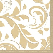 Amscan Elegant Scroll 50th Anniversary Beverage Napkins, 5'' x 5'', Gold, 8/Pack, 16 Per Pack (503851)