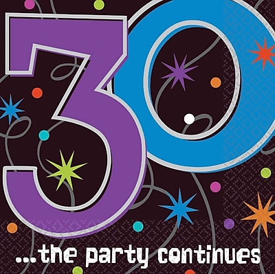 Amscan '30th ...the Party Continues' Beverage Napkins, 5''L x 5''W, 8/Pack, 16 Per Pack (509794)