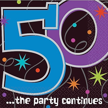 Amscan '50th ...the Party Continues' Beverage Napkins, 5''L x 5''W, 8/Pack, 16 Per Pack (509796)
