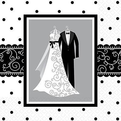 Amscan Wedding Lunch Napkins, 6.5'' x 6.5'', Black/White, 8/Pack, 16 Per Pack (511091)