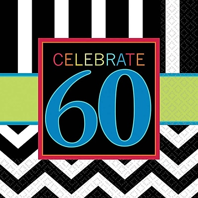 Image of Amscan 60th Celebration Lunch Napkins, 6.5'' x 6.5'', Striped, 8/Pack, 16 Per Pack (511368)