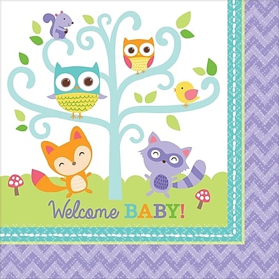Amscan Woodland Welcome Baby Shower Lunch Napkins, 6.5