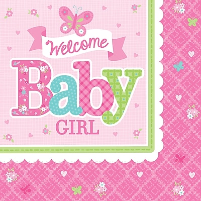 Amscan Welcome Little One Baby Shower Girl Lunch Napkins, 6.5'' x 6.5'', Pink/White, 8/Pack, 16 Per Pack (511458) 1970651