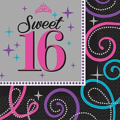 Amscan Sweet Sixteen Celebration Lunch Napkins, 6.5'' x 6.5'', Multicolored, 8/Pack, 16 Per Pack (511466)