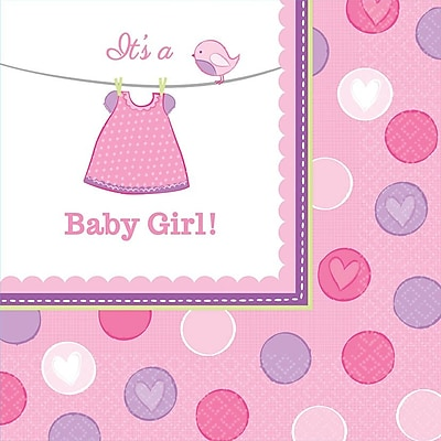 Amscan Shower With Love Girl Lunch Napkins, 6.5