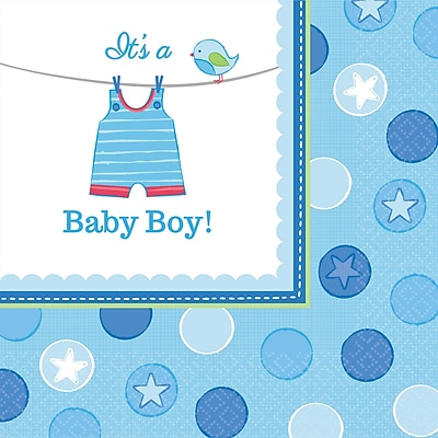 Amscan Shower With Love Boy Lunch Napkins, 6.5'' x 6.5'', Blue/White, 8/Pack, 16 Per Pack (511491)