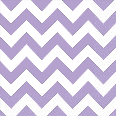 Amscan Chevron Lunch Napkins, 6.5'' x 6.5'', Lavender, 8/Pack, 16 Per Pack (511492.04)
