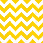 Amscan Chevron Lunch Napkins, 6.5'' x 6.5'', Yellow Sunshine, 8/Pack, 16 Per Pack (511492.09)