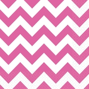 Amscan Chevron Lunch Napkins, 6.5'' x 6.5'', Bright Pink, 8/Pack, 16 Per Pack (511492.103)