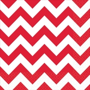 """Amscan Chevron Lunch Napkins, 6.5"""" x 6.5"""", Apple Red, 8/Pack, 16 Per Pack (511492.4)"""