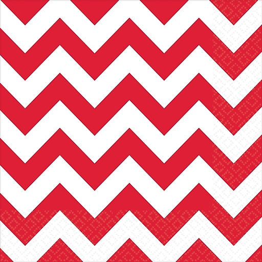 "Amscan Chevron Lunch Napkins, 6.5"" x 6.5"", Apple Red, 8/Pack, 16 Per Pack (511492.4)"