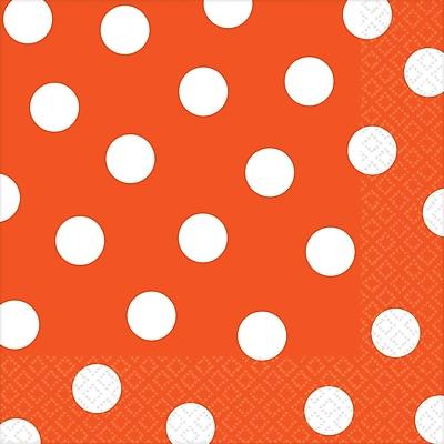 Amscan Polka Dots Lunch Napkins, 6.5'' x 6.5'', Orange Peel, 8/Pack, 16 Per Pack (511537.05)