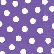 Amscan Polka Dots Lunch Napkins, 6.5'' x 6.5'', Purple, 8/Pack, 16 Per Pack (511537.106)