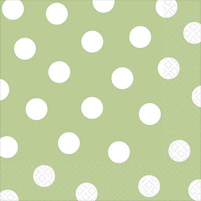 Amscan Polka Dots Lunch Napkins, 6.5'' x 6.5'', Leaf Green, 8/Pack, 16 Per Pack (511537.115)