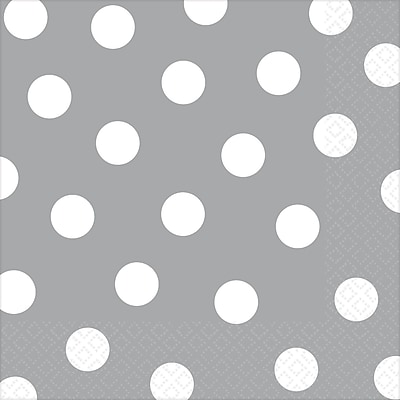Amscan Polka Dots Lunch Napkins, 6.5'' x 6.5'', Silver, 8/Pack, 16 Per Pack (511537.18) 1970578