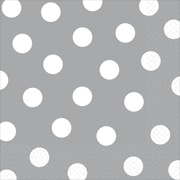 Amscan Polka Dots Lunch Napkins, 6.5'' x 6.5'', Silver, 8/Pack, 16 Per Pack (511537.18)