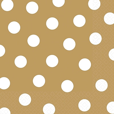 Amscan Polka Dots Lunch Napkins, 6.5'' x 6.5'', Gold, 8/Pack, 16 Per Pack (511537.19)