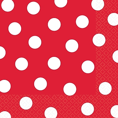 Amscan Polka Dots Lunch Napkins, 6.5'' x 6.5'', Apple Red, 8/Pack, 16 Per Pack (511537.40)