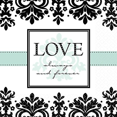 Amscan Always & Forever Anniversary Lunch Napkins, 6.5'' x 6.5'', 8/Pack, 16 Per Pack (519461)