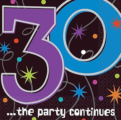Amscan The Party Continues 30 Lunch Napkins, 6.5'' x 6.5'', 8/Pack, 16 Per Pack (519794) 1970631