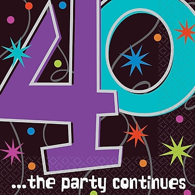 Amscan The Party Continues 40 Lunch Napkins, 6.5''L x 6.5''W, 8/Pack, 16 Per Pack (519795)