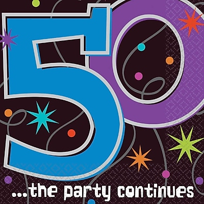 Amscan The Party Continues 50 Lunch Napkins, 6.5'' x 6.5'', 8/Pack, 16 Per Pack (519796)