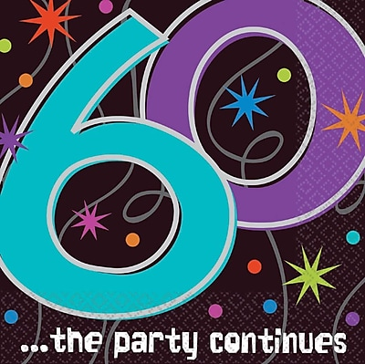 Amscan The Party Continues 60 Lunch Napkins, 6.5'' x 6.5'', 8/Pack, 16 Per Pack (519797)