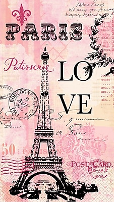 """Amscan Paris Love Guest Towels, 7.75"""" x 4.5"""", 4/Pack, 16 Per Pack (530020)"""