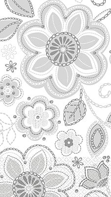 Amscan Flower Embroidery Guest Towels, 7.75'' x 4.5'', Silver, 4/Pack, 16 Per Pack (530049)