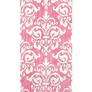 Amscan Eco-Friendly Guest Towels, 7.75'' x 4.5'', Pink Damask, 4/Pack, 16 Per Pack (530054)