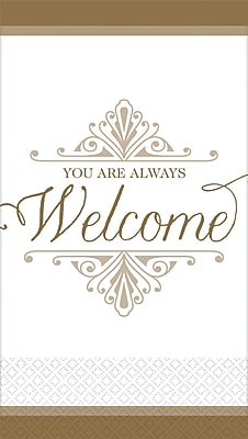 "Amscan Premium Welcome Guest Towels, 7.75"" x 4.5"", Gold, 3/Pack, 16 Per Pack (530057)"